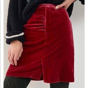 Anthropologie Montie Red Velvet Mini Skirt 4 or 6